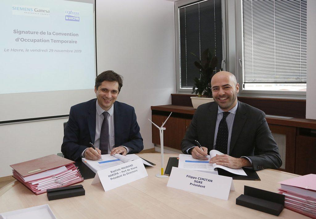 Signature de la Convention d'Occupation Temporaire entre Siemens Gamesa Renewable Energy et HAROPA - Port du Havre. 1